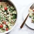 This delicious chickpea summer salad combines chickpeas, cucumber, onion, tomatoes and feta with a oil, vinegar and cumin dressing for a flavorful summer salad that is sure to please any crowd. Perfect for a hot summer night, when you don't want to cook, or a great picnic salad for a crowd | CHICKPEA SALAD | SUMMER SALAD | PICNIC SALAD | GREEK CHICKPEA SALAD | FRESH VEGETABLES | PARSLEY | SUMMER SALAD RECIPE | FETA | MAKE AHEAD | FOR A CROWD | COLD | WITH CHICKEN | VEGETARIAN | LOW CARB | FOR PARTIES | BEST | #summersalad #lowcarb #plantbased #vegetarian