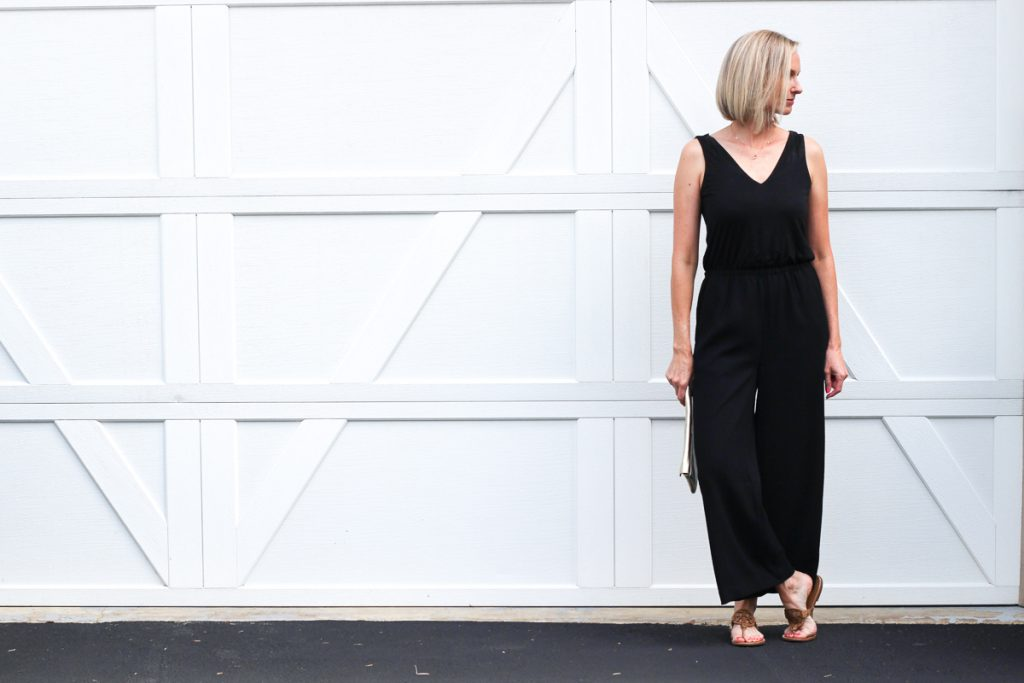 Date night jumpsuit and Fall transition piece | Date night outfit, black jumpsuit, fall fashion, fall transition outfit, modest fashion, mom fashion