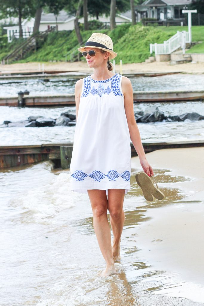 Sharing my favorite flip flops and the perfect summer dress on the blog today. | SUMMER DRESS FOR WOMEN, OVER 40, MODEST, PERFECT, SUNDRESS, CASUAL, COTTON, WHITE, BEACH, SUMMER, 2018, MOM OUTFIT, CUTE