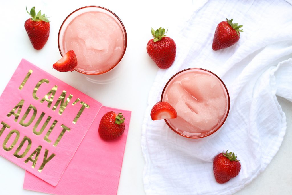 Celebrate 4th of July with a Frozen Rosé Summer Cocktail - Strawberry simple syrup, fresh lemon juice, crushed ice and frozen rosé make this refreshing summer cocktail | summer cocktail, frozen rosé, happy hour, strawberry simple syrup cocktails, cocktail hour, easy, party