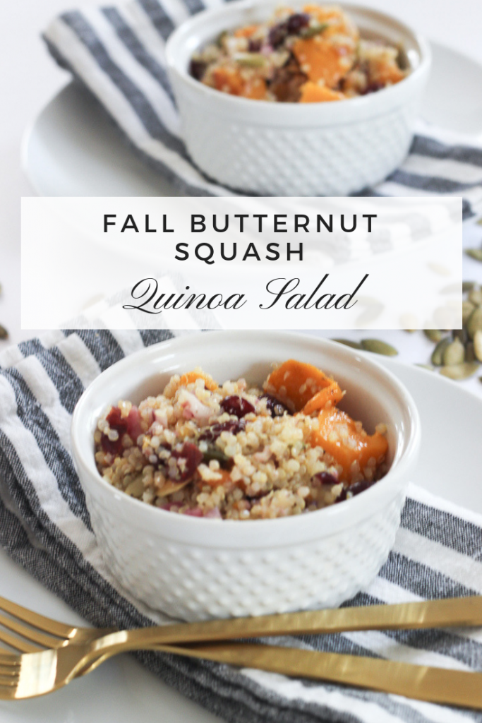 FALL BUTTERNUT SQUASH QUINOA SALAD | A delicious and healthy butternut squash fall salad recipe with quinoa, roasted butternut squash, dried cranberries and toasted pumpkin seeds. Great for parties or a big crowd. #fallsalad #butternutsquash #quinoa #quinoasalad
