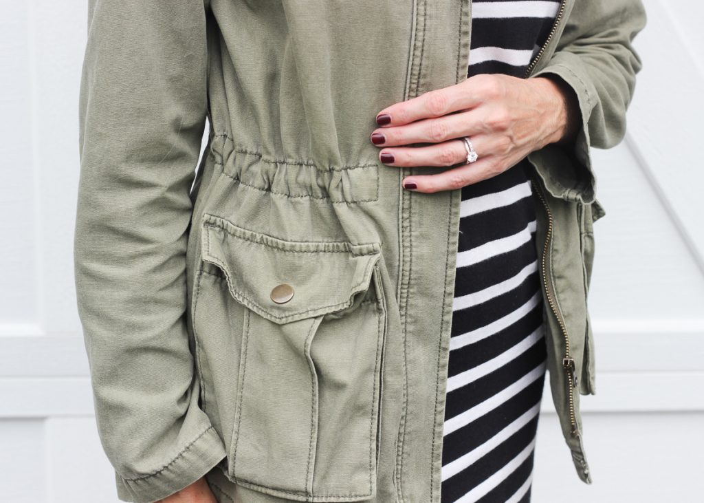 FALL STYLE | STRIPED T SHIRT DRESS & GREEN JACKET | Sharing an easy, everyday fall outfit idea, a striped t shirt dress, green cotton jacket , white Chuck Taylor's and a great fall style tote. CASUAL, COZY, COMFY, MOM #momoutfit #realoutfit