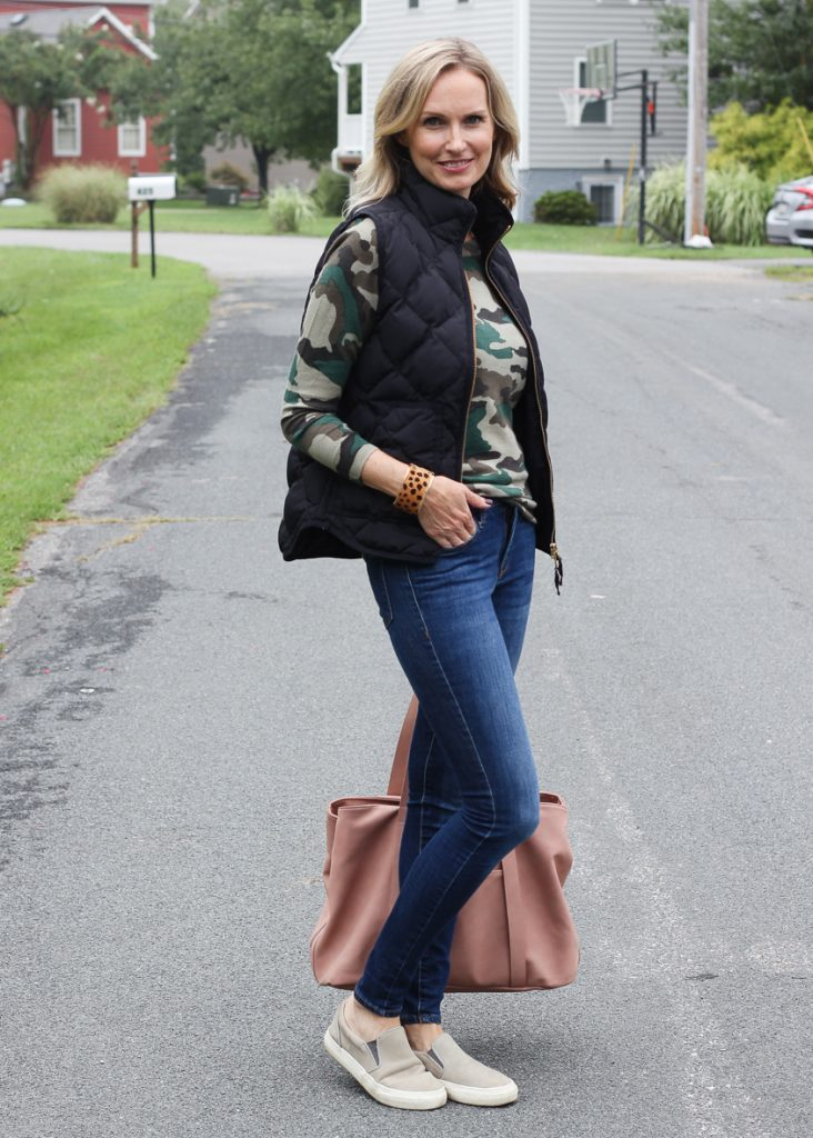 Why You Need a Camo Sweater This Season | In this blog post, I share why you need a camo sweater in your closet this season and a few ways to wear it. #outfitideas #over40 #over40fashion #over40style #momoutfit #falloutfitideas #camosweater