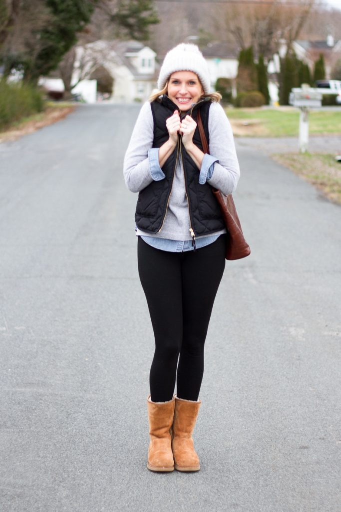 STAYING WARM & COZY ON CHILLY WINTER DAYS | I pulled together some of my favorite closet staples to create and cute and cozy mom uniform for running around on chilly days. I layered a long sleeve striped tee, denim shirt, cozy cashmere sweater and puffer vest and paired them with my new favorite leggings and Ugg boots for a cute on-the-go outfit. The haot covers my dirty hair and keeps my head warm without feeliging itchy. I am ready to tackle that Costco run. #momuniform #cuteandcozy #outfitidea #over40style #over40