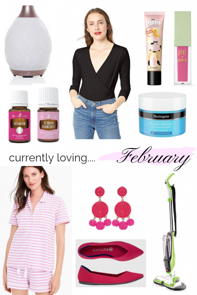 CURRENTLY LOVING | FEBRUARY EDITION - I am sharing a few things I am currently loving on the blog today, ranging from the comfiest pair of shoes and the most flattering bodysuit, to the cutest Valentine's Day pajamas and earrings, and my newfound obsession with essential oils. Also, sharing the best mop ever.