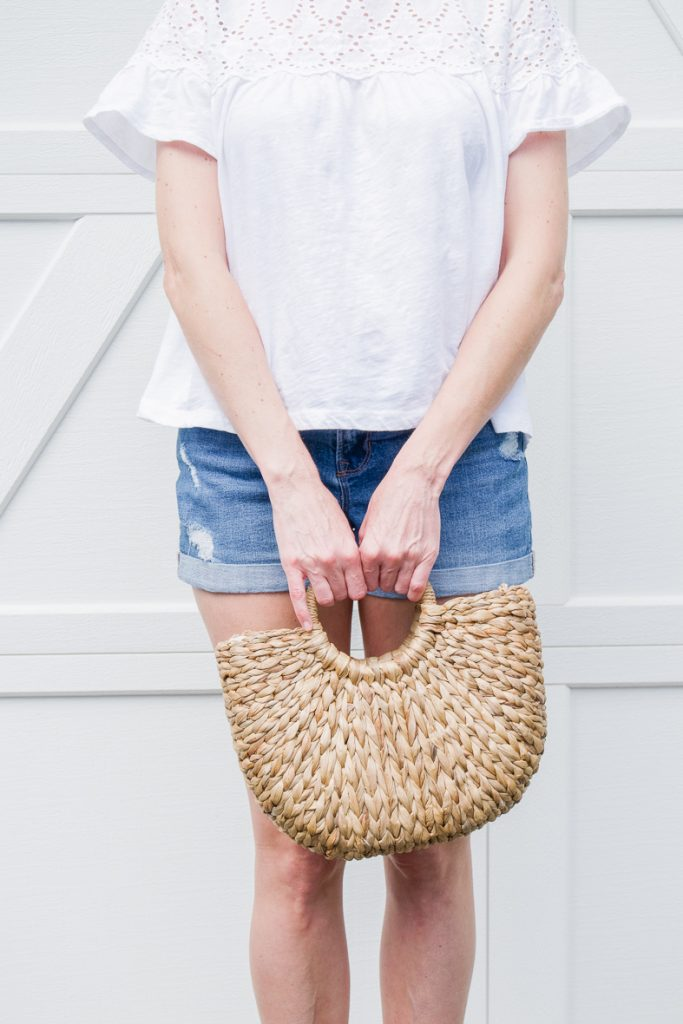 THE PERFECT WHITE SUMMER TEE | I am sharing a casual summer outfit, mixing budget friendly pieces with classic staples for a refined, casual look. #shopstyle #realstyle #over40style #summeroutfit #whitetop #boyfriendshorts #styleover40 #fashionover40 #summeruniform