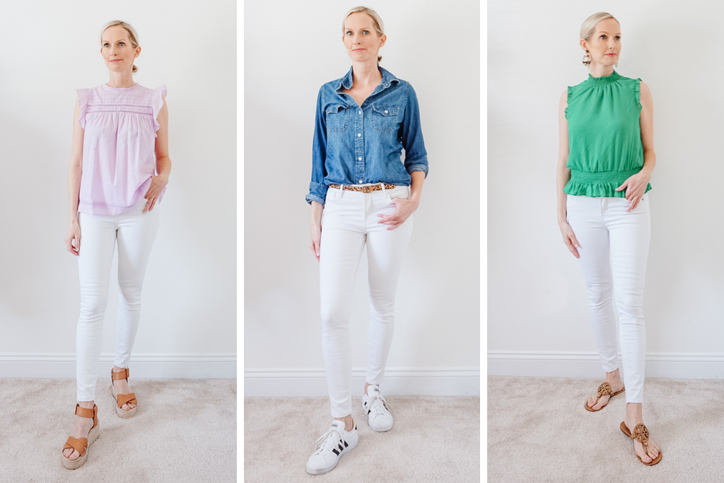 WHITE JEANS STYLED 6 WAYS I am sharing my favorite white denim jeans on the blog today, along with a style session, where I share 9 ways to wear them, ranging from dressy to casual. #stylesession #whitejeans #whitedenim #shopyourcloset #capsulewardrobe #capsule #over40style #realoutfit #momoutfit