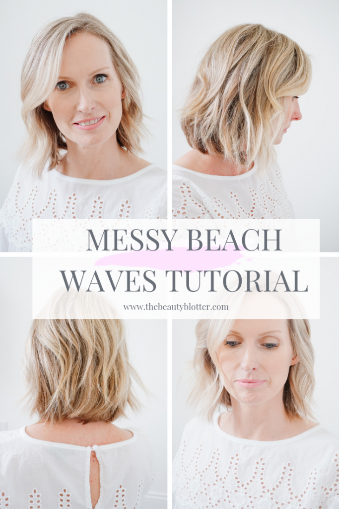 MESSY BEACH WAVES TUTORIAL | I am sharing an easy tutorial on how to get messy beach waves for short hair on the blog. #beachwaves #hairtutorial