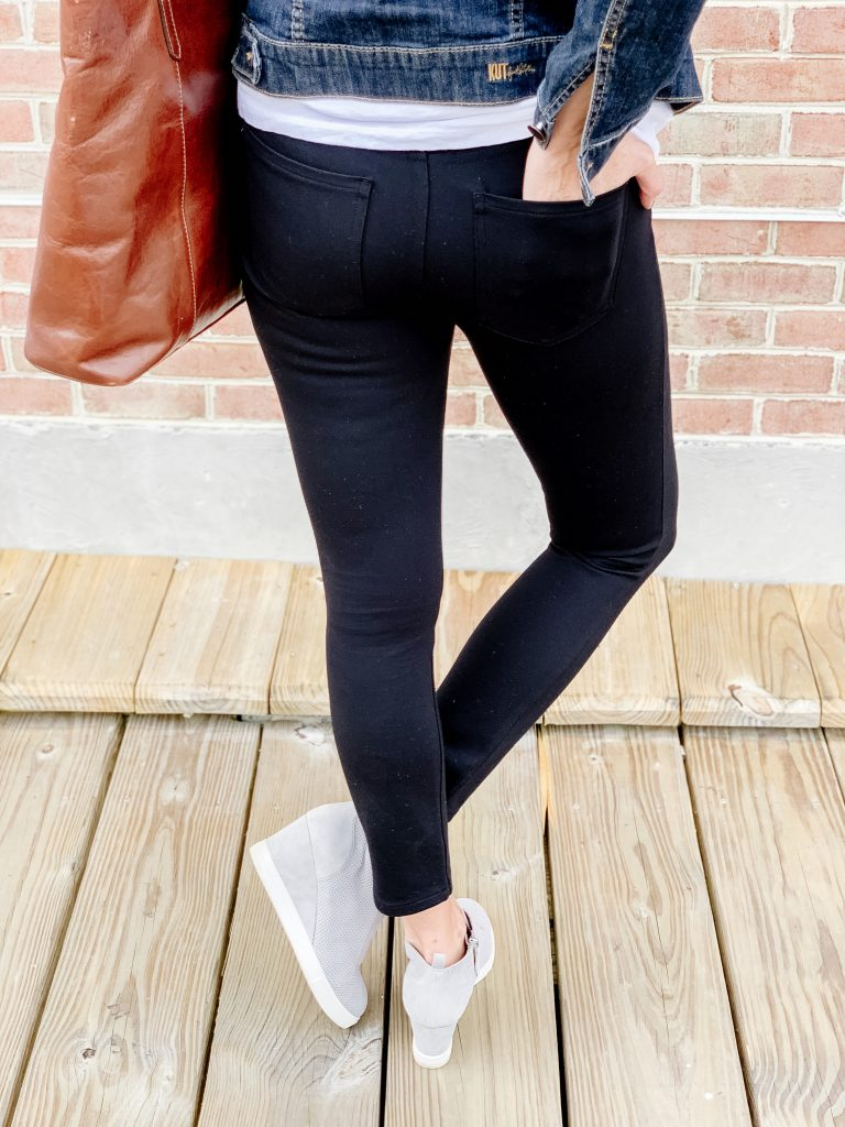 THE PERFECT BLACK PANT FOR WOMEN 40+ | I am sharing the perfect black pant for women 40+ which smoothes out all of your lumps and bumps and has you looking and feeling fabulous. It is so versatile and will take you from running errands, to meetings and even date night with a leopard blouse and heels. In other words, these are the perfect wardrobe staple.