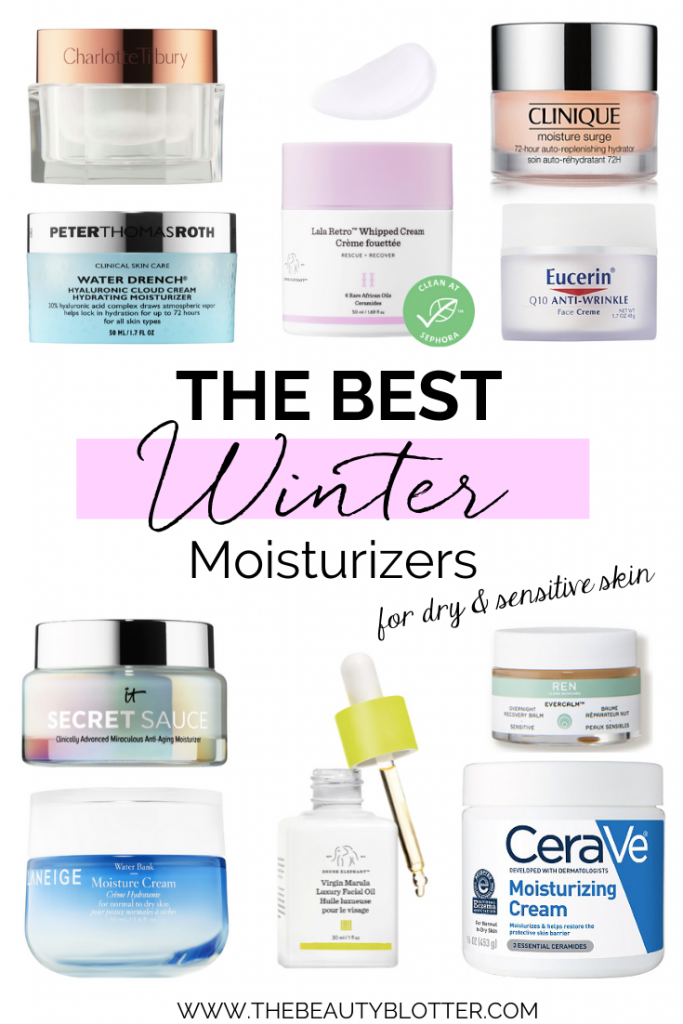 THE BEST WINTER MOISTURIZERS FOR DRY, SENSITIVE SKIN | The top moisturizers for dry, sensitive skin with rosacea that are perfect for the cold winter months. I am sharing my winter skincare routine, tips, and & skincare products as well as drugstore moisturizers that work for women over 40. #skincare#skincareroutine#rosacea