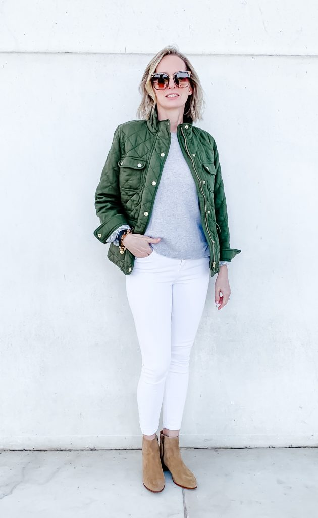 THE PERFECT TRANSITION OUTFIT FOR SPRING | Sharing a cute, mom-friendly, casual outfit idea for women in their 40's, including the best white jeans, the softest cashmere sweater, the perfect quilted jacket for Spring and the best suede ankle booties that will carry you into spring effortlessly. #outfitidea #springoutfit #casualoutfit