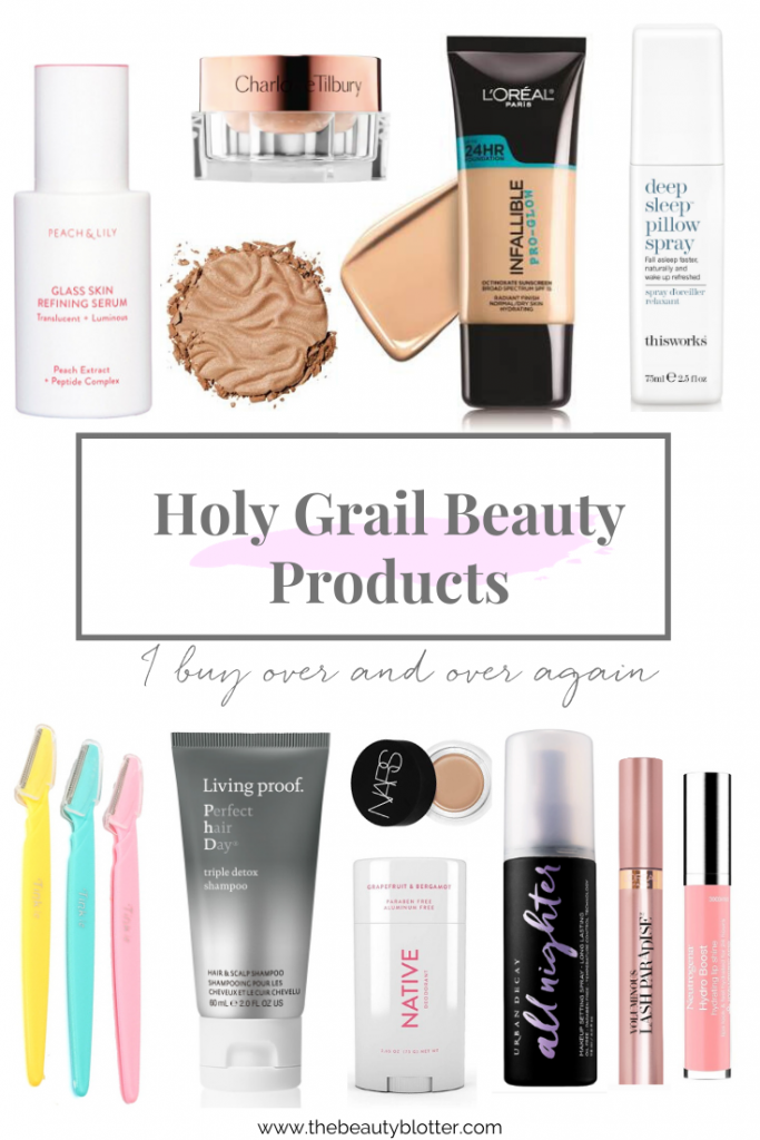 My Holy Grail Beauty Products I buy over and over again   I am sharing the best beauty products I have on repeat in my beauty routine that I purchase over and over again. #drugstorebeauty #holygrailmakeup #holygrailbeauty