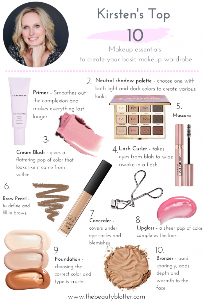 THE TOP 10 MAKEUP ESSENTIAL EVERY WOMAN SHOULD OWN | Today on the blog, I am sharing the top 10 Makeup essentials of daily makeup items every woman should own to create a working capsule makeup wardrobe, including a printable makeup checklist. It includes all of the basic makeup items, from primer to lip gloss and is great for beginners. #makeupbasics #makeupessentials #makeupchecklist #beginnerm